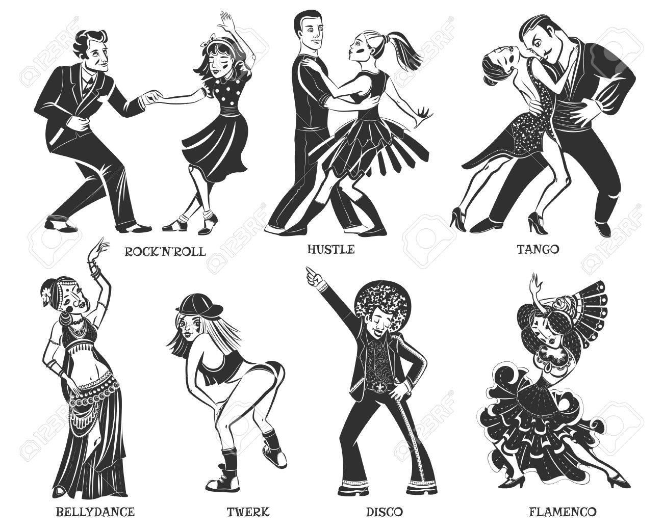 Nativo Populares Par De Baile Y Los Iconos Negros De Rendimiento ...