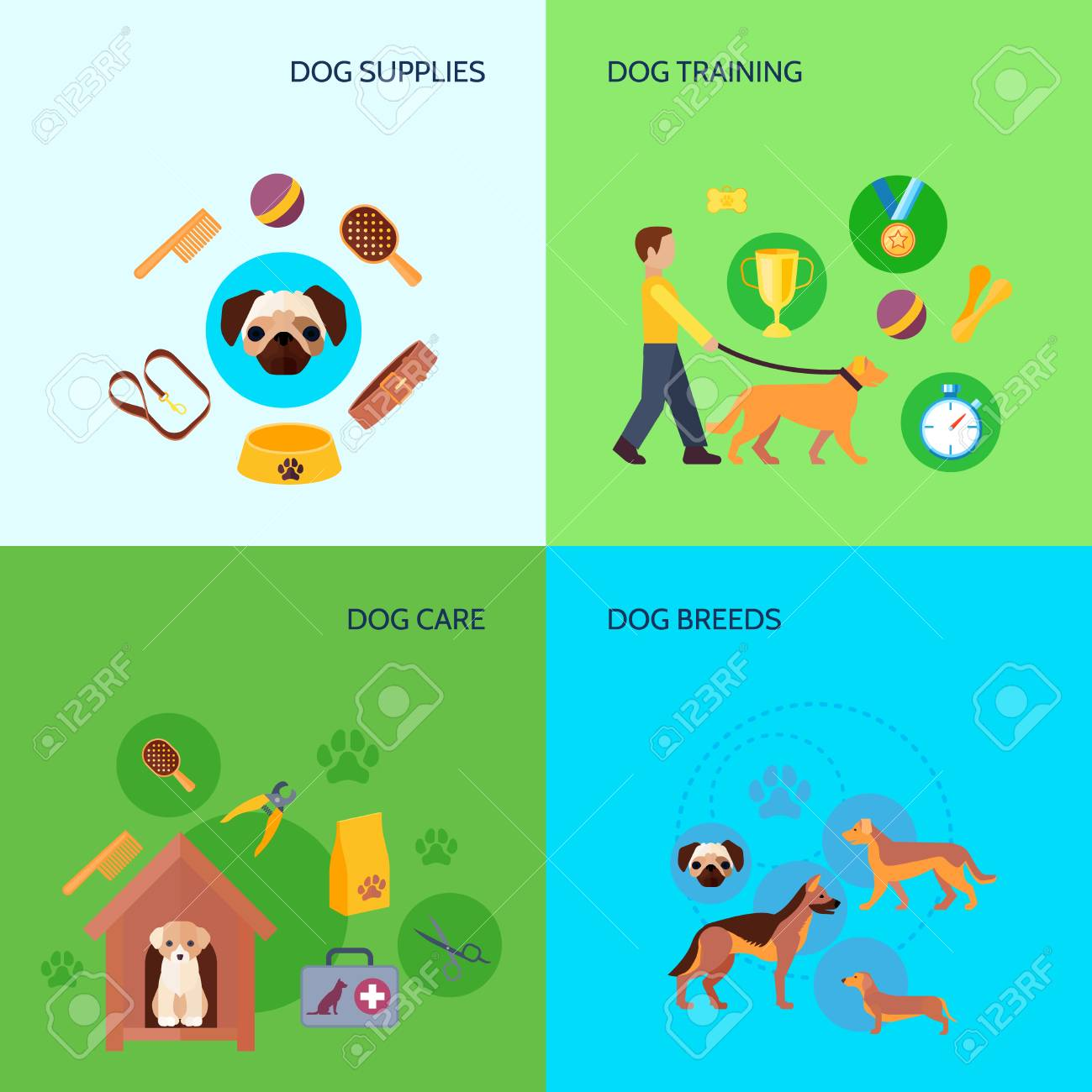 7305061e396 Dog breeds training and care products supplies 4 flat icons square  composition banner abstract isolated vector