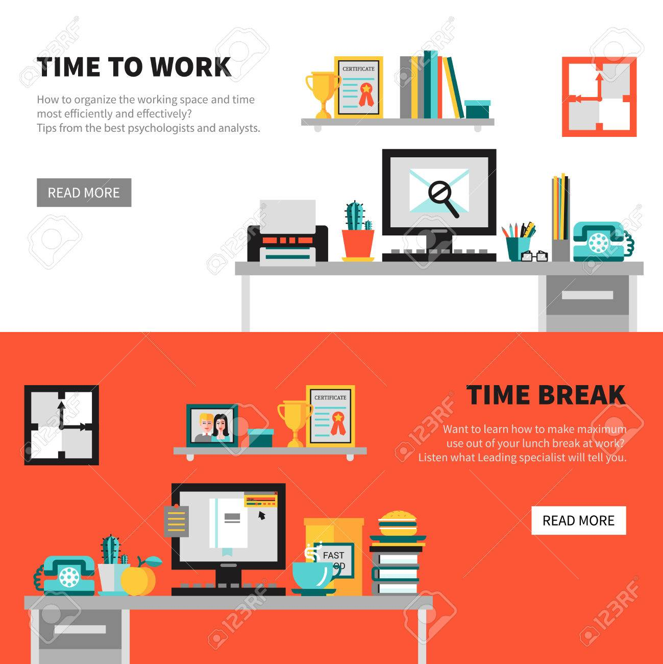 Horizontal Office Banners With Workspace Design Concept Sets ...