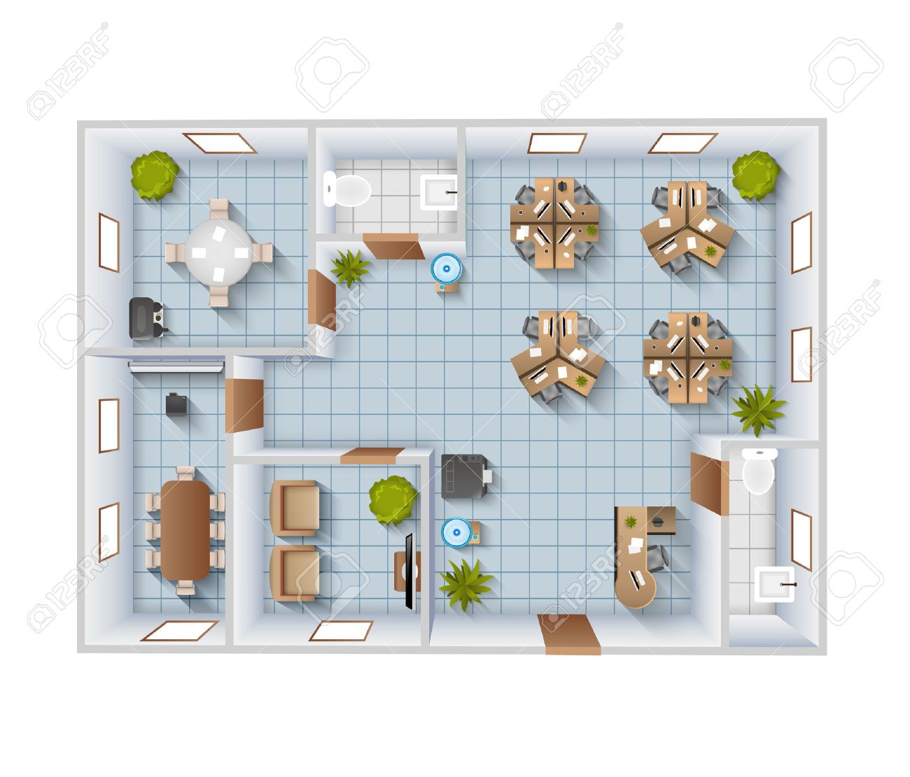Office interior top view blueprint template with conference room office interior top view blueprint template with conference room and restroom vector illustration banque d malvernweather Choice Image
