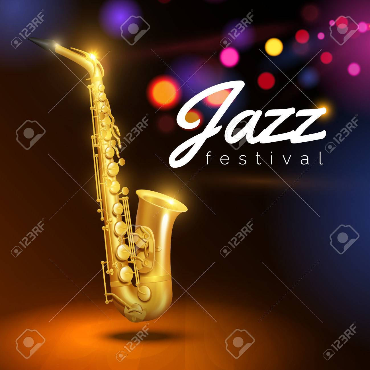Golden saxophone on black background with colored lights and caption jazz festival vector Illustration - 49547073