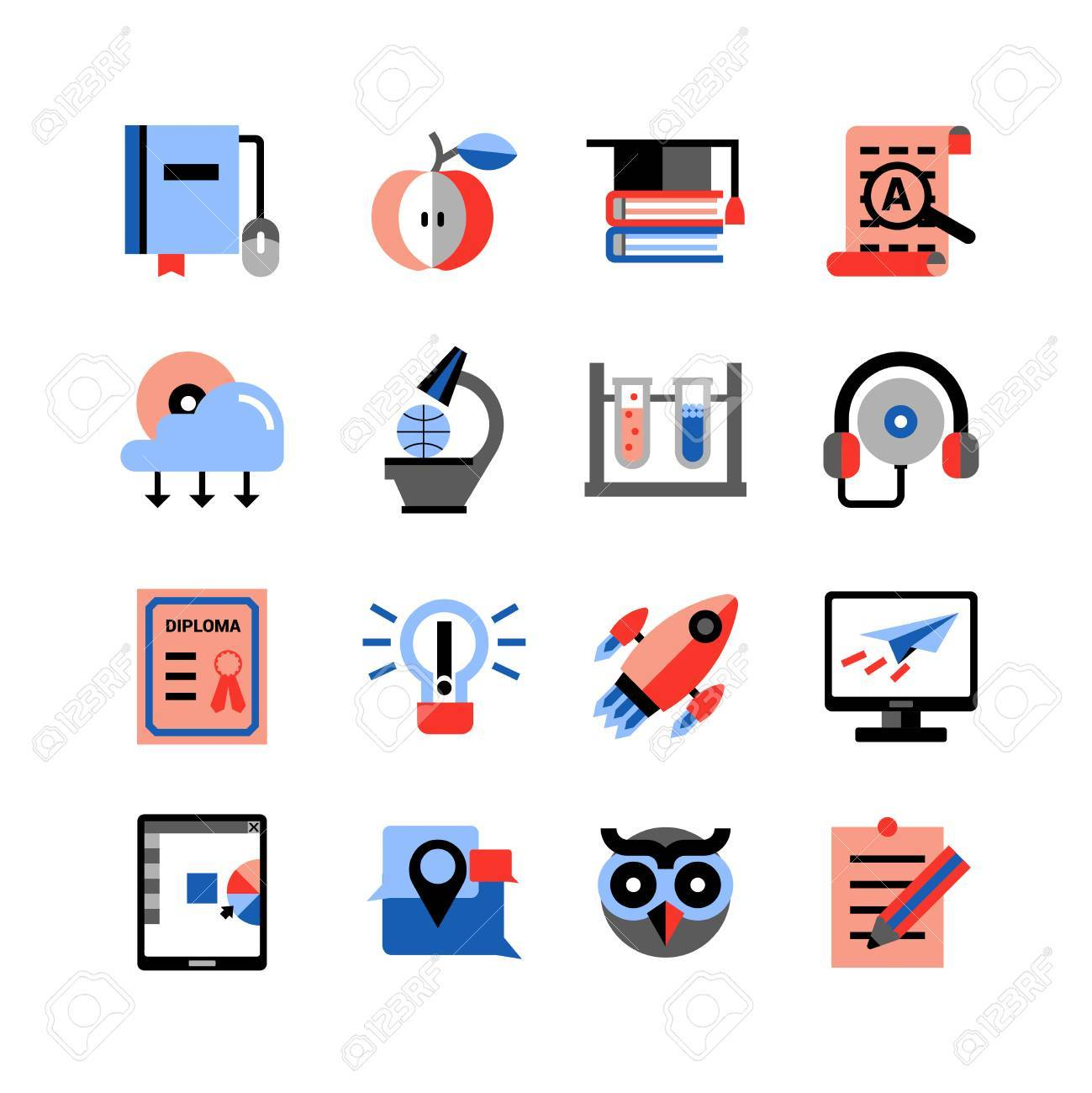 Flat Color Online Education Icons Set With Touch Pad Computer ...