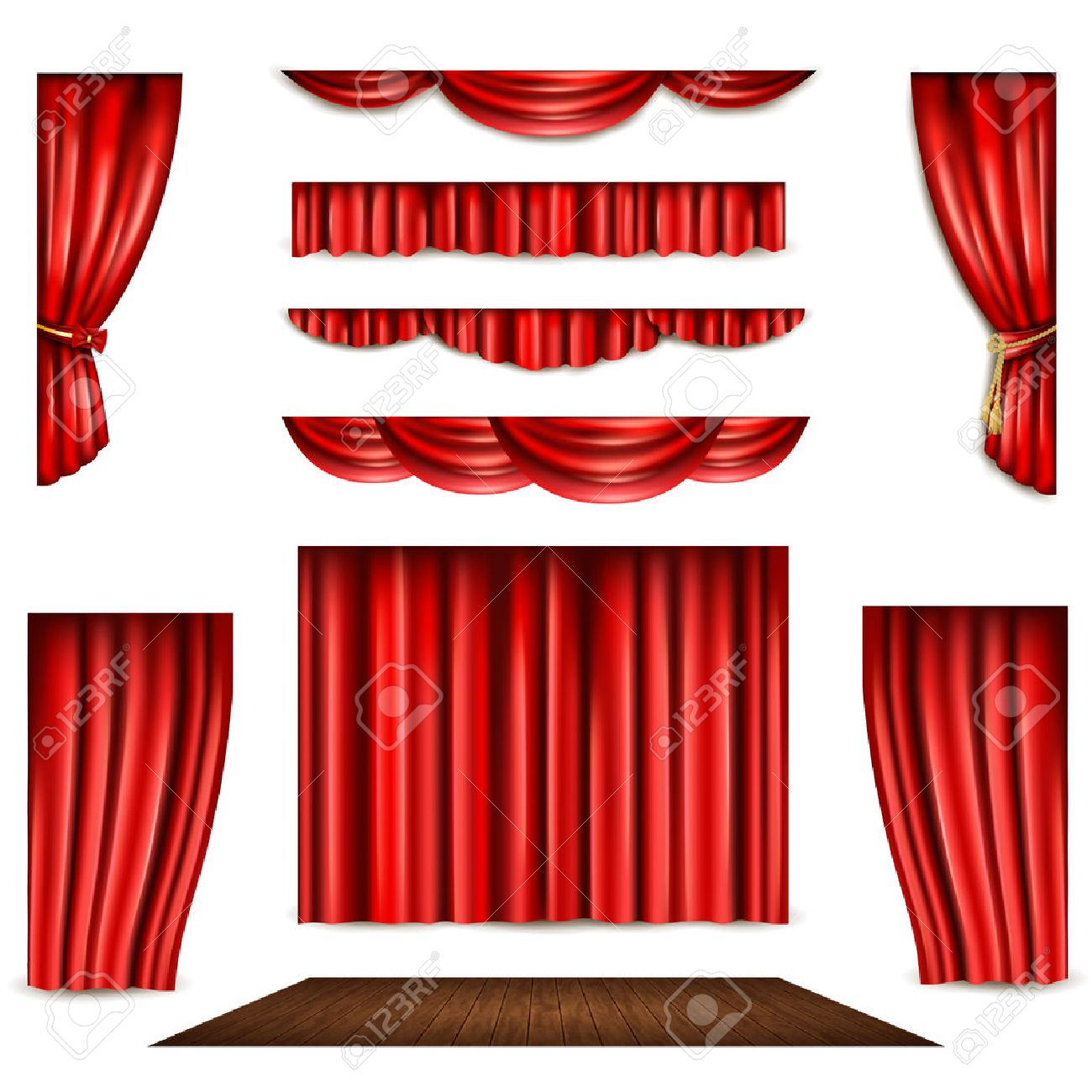 Red theatre curtain in different shape and wooden stage realistic isolated vector illustration - 49547572