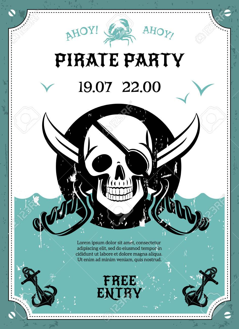 Pirate Party Free Entry Announcement Poster With Skull Eye Pad Date And Time Abstract Vector