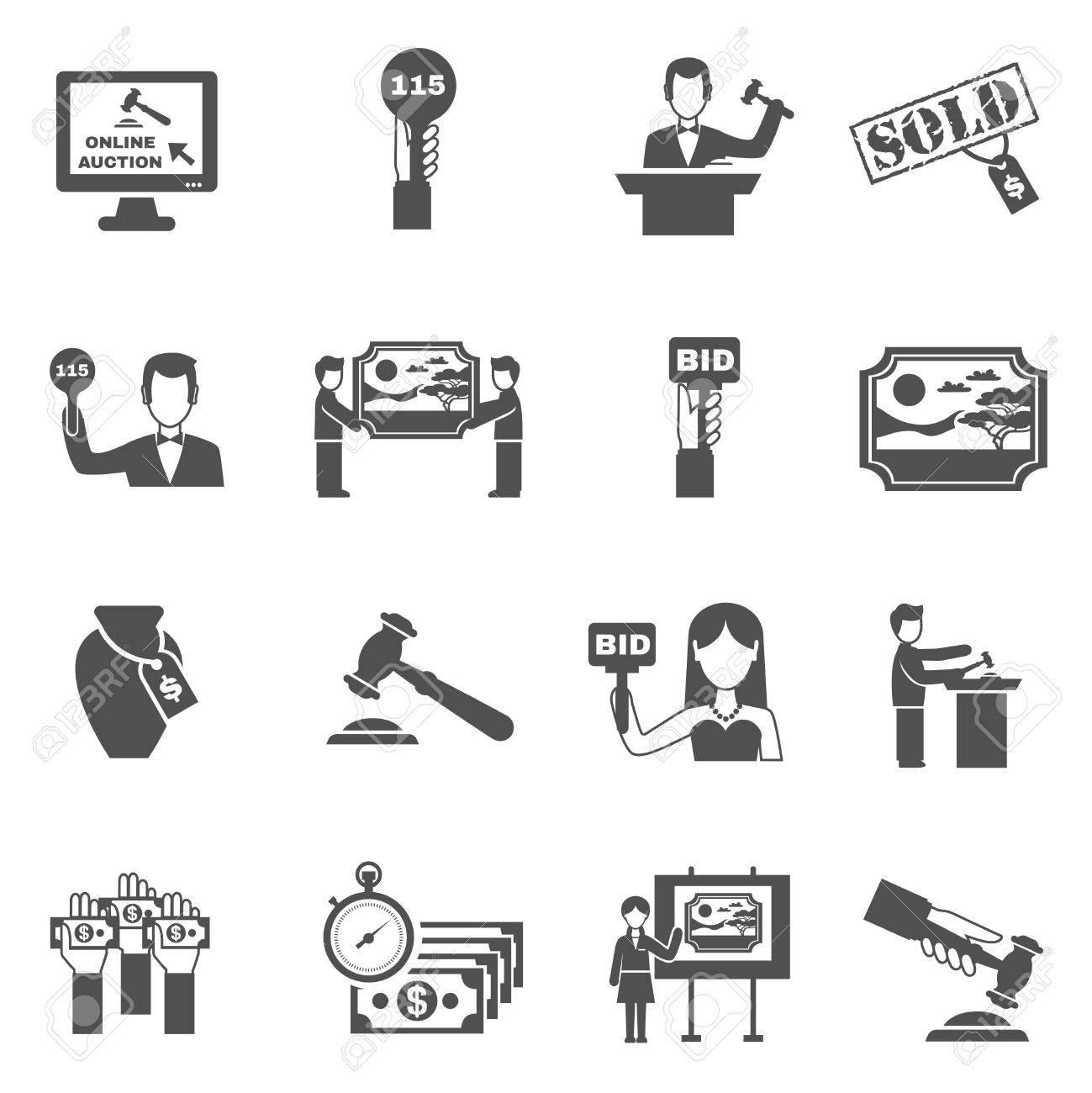 Subasta Blanco Iconos Conjunto Negro Con Símbolos De Licitación