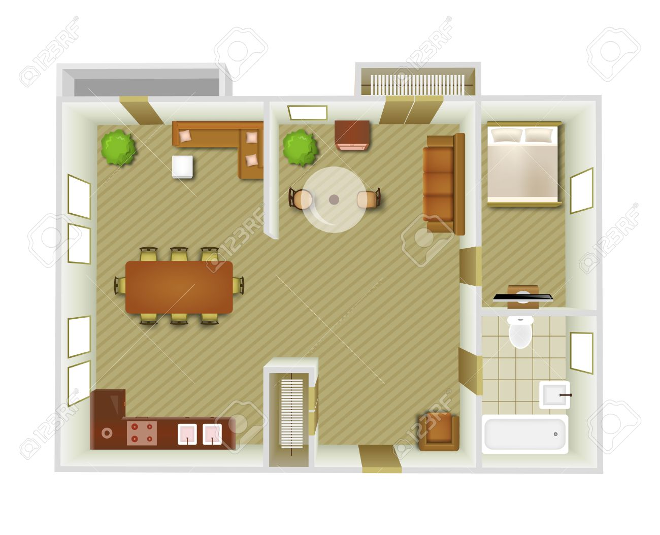 Flat Interior Top View With Living Room And Kitchen Furniture