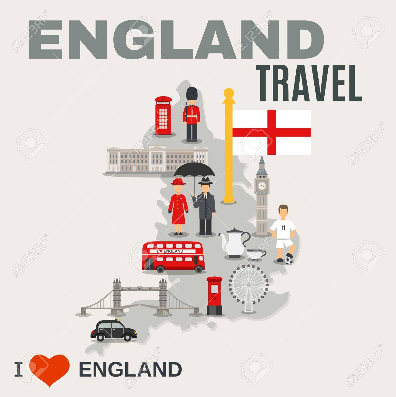 Map Of England Poster.Albion Island Travel Misty Grey Map Of England Poster With Sightseeing