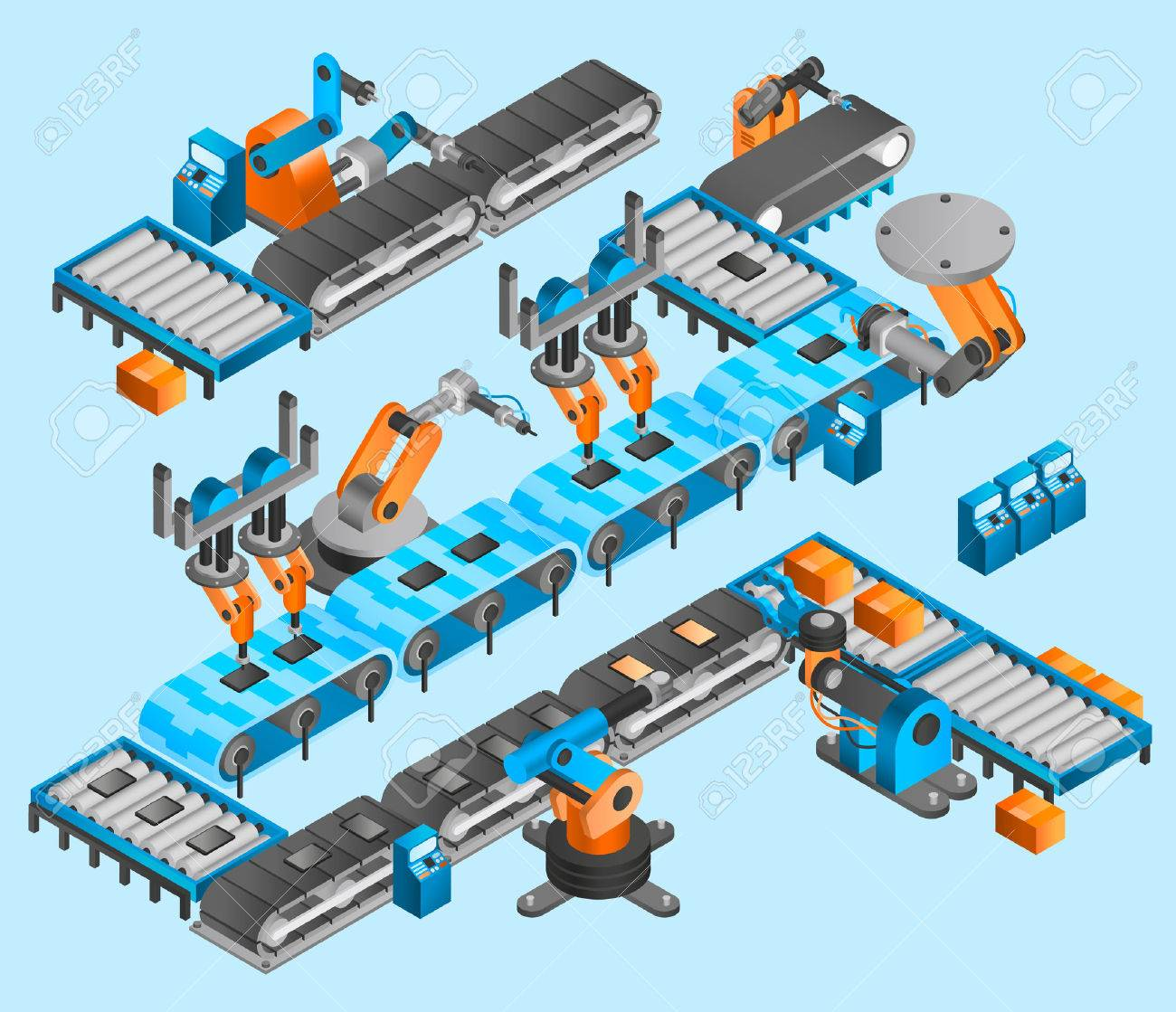 Industrial robot concept with isometric conveyor line and robotic arm manipulators vector illustration - 50338716
