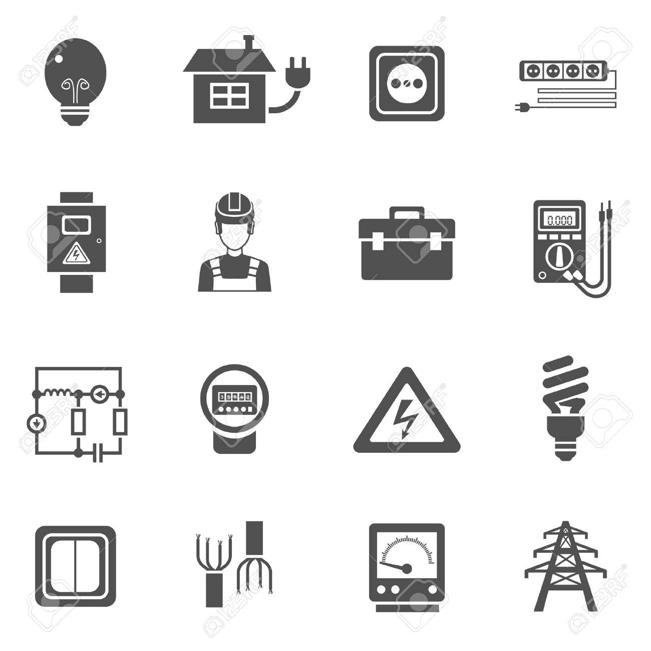 Electricity Black White Icons Set With Power And Energy Symbols ...