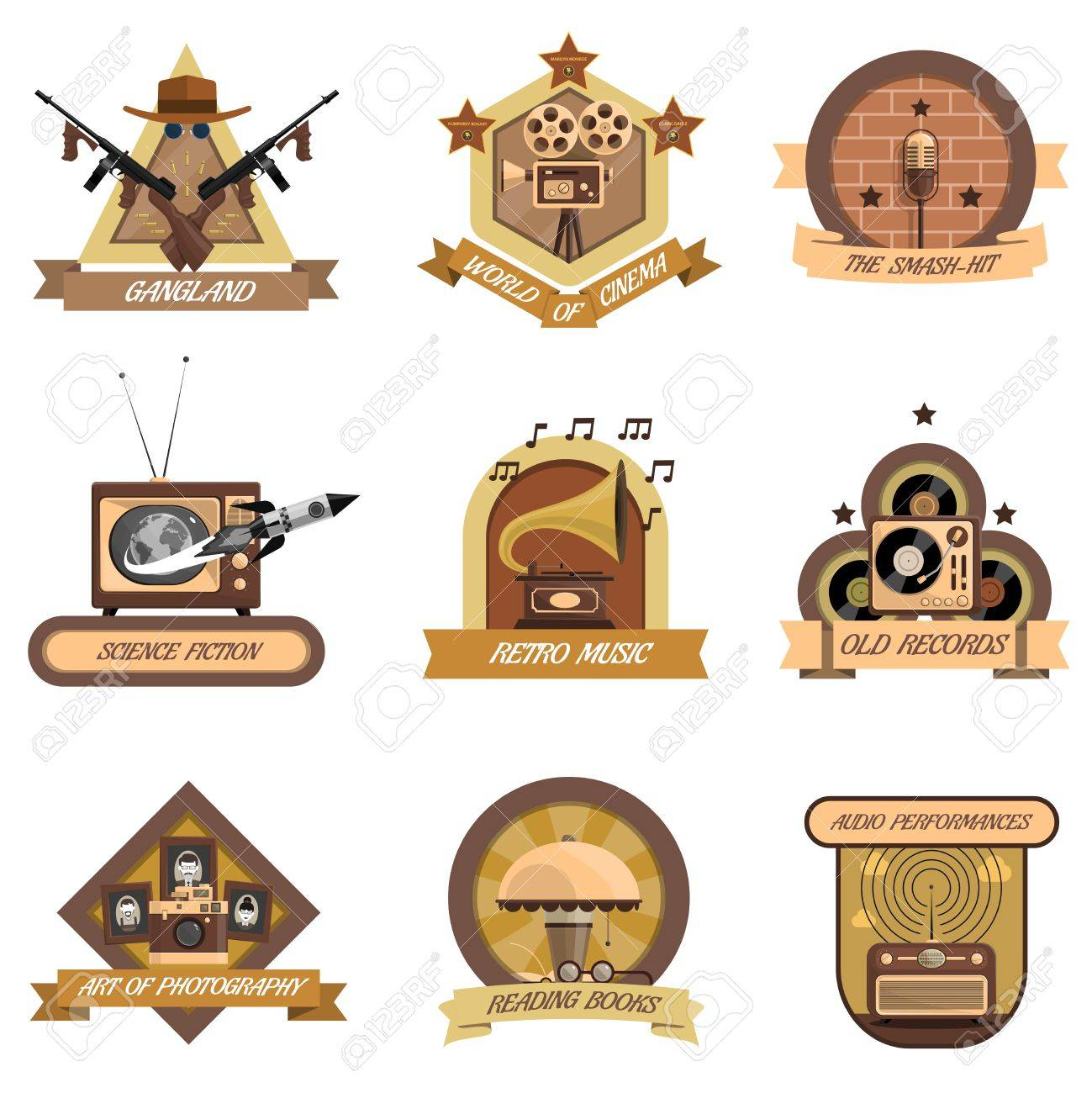 Retro Emblems Set With World Of Cinema And Old Records Symbols