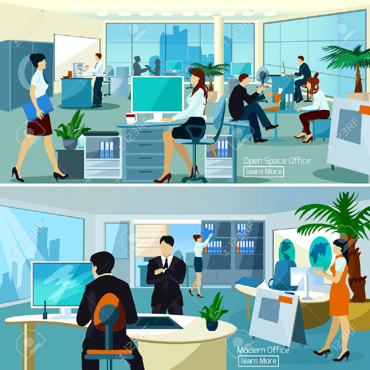 Flat color compositions with people talking and working at computers in open space office vector illustration - 50339199