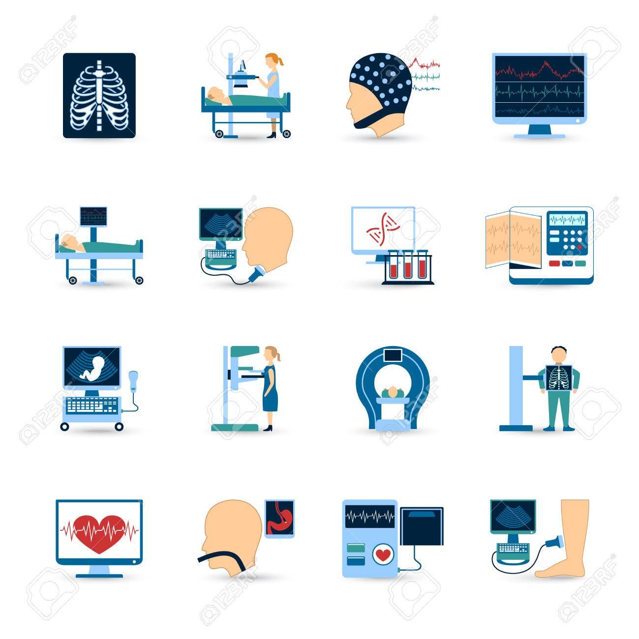Medical examination icons set with x ray and blood test symbols medical examination icons set with x ray and blood test symbols flat isolated vector illustration buycottarizona Images