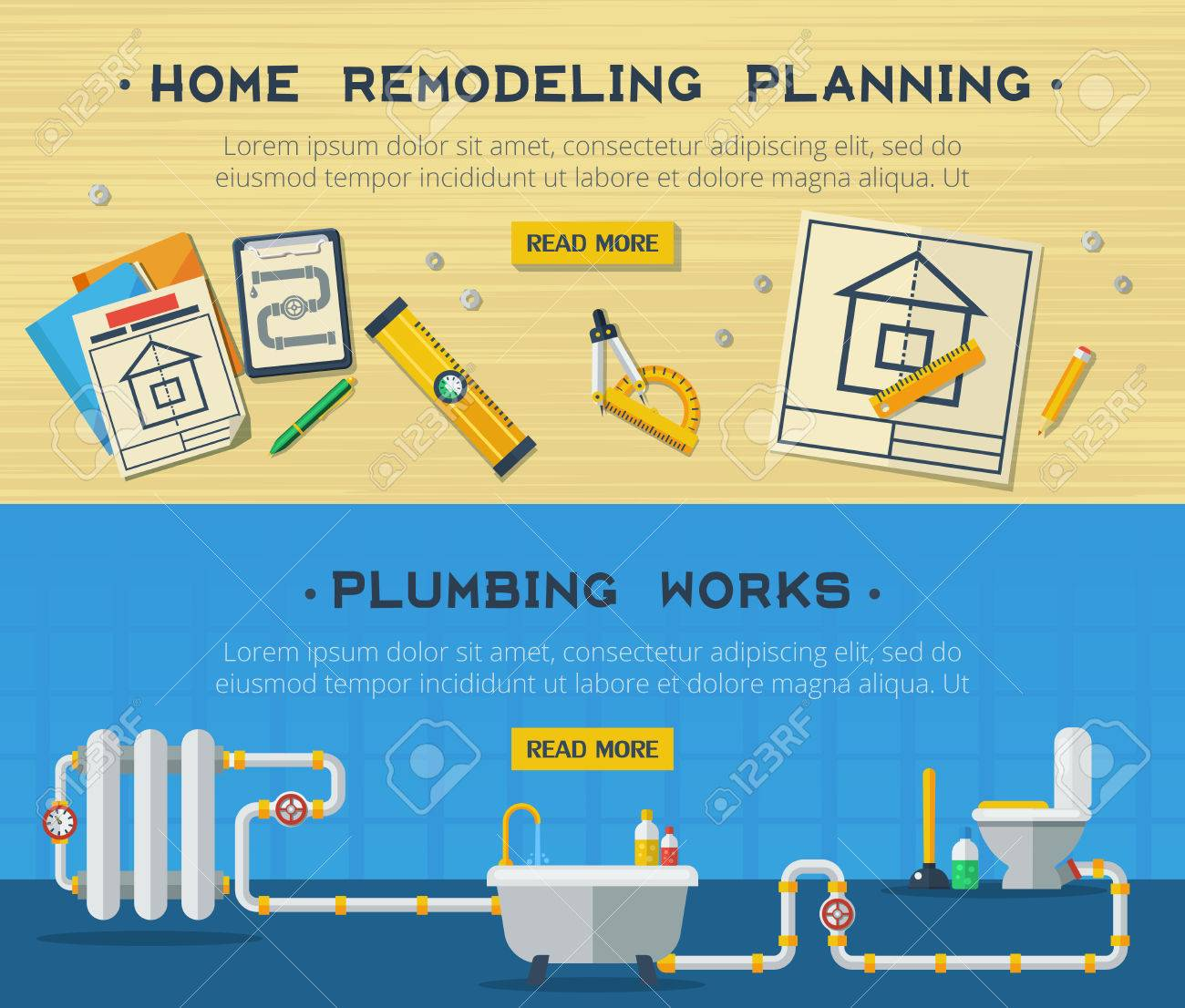 Home remodeling plumbing and sanitary installation service interactive  webpage design 2 flat horizontal banners vector isolated. Home Remodeling Plumbing And Sanitary Installation Service