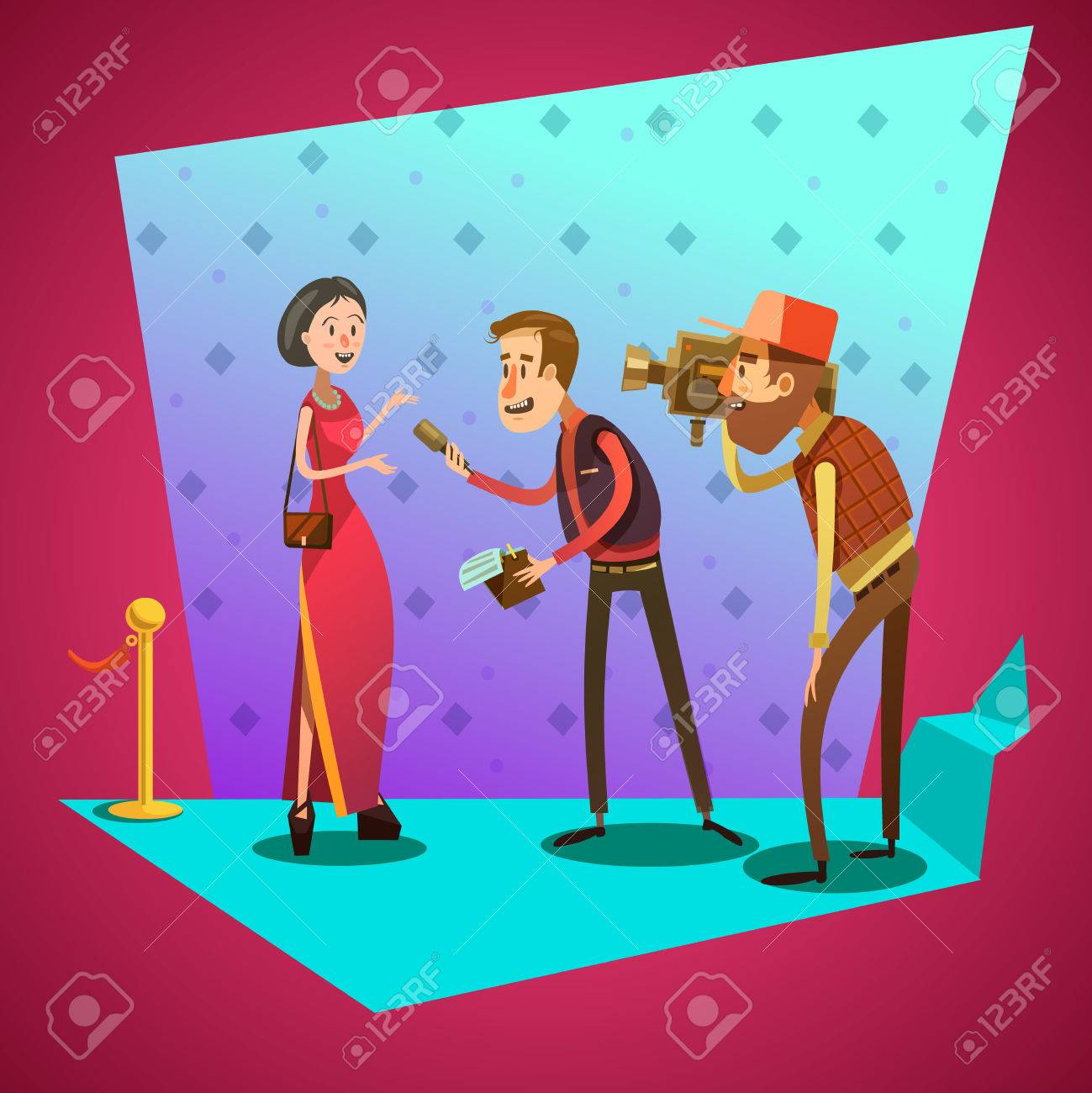 journalist interviews star on celevrity event retro cartoon vector journalist interviews star on celevrity event retro cartoon vector illustration stock vector 50340496