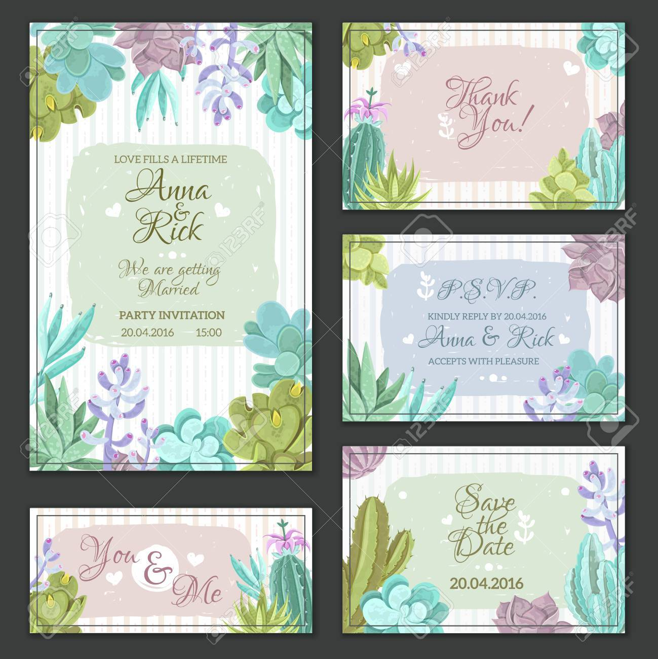 Wedding cards set with a cactus design flat isolated vector illustration - 50340703