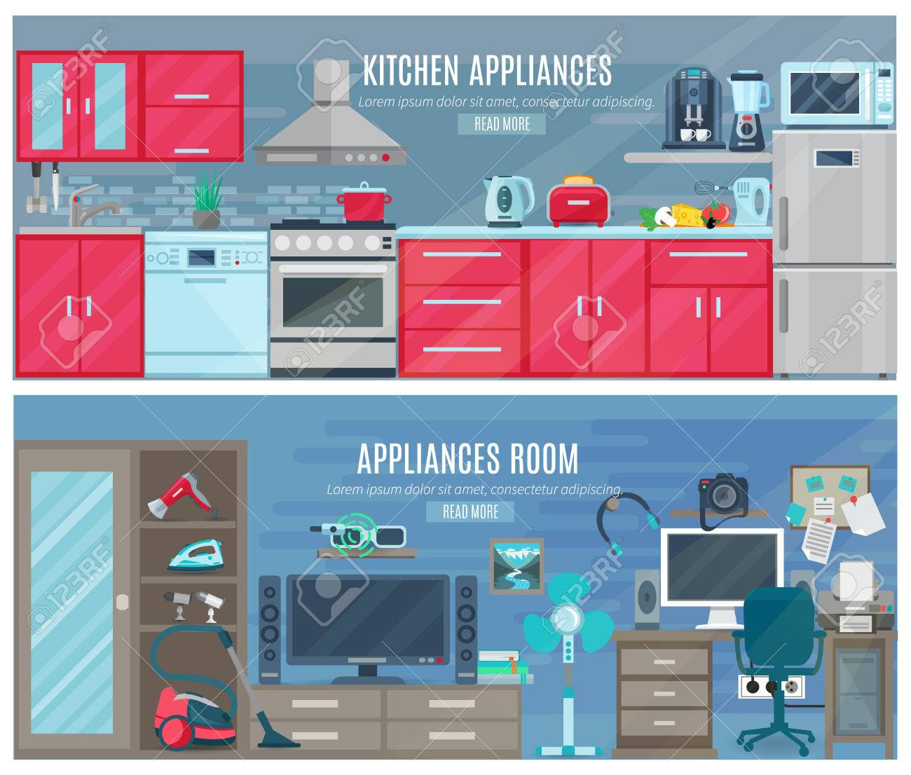 Household horizontal banners with electronic and digital appliances in kitchen and room interiors flat vector illustration - 50340706