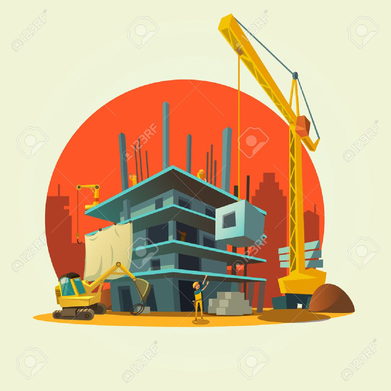 Construction concept with retro style concept workers and machines building house cartoon vector illustration Stock Vector - 50340884