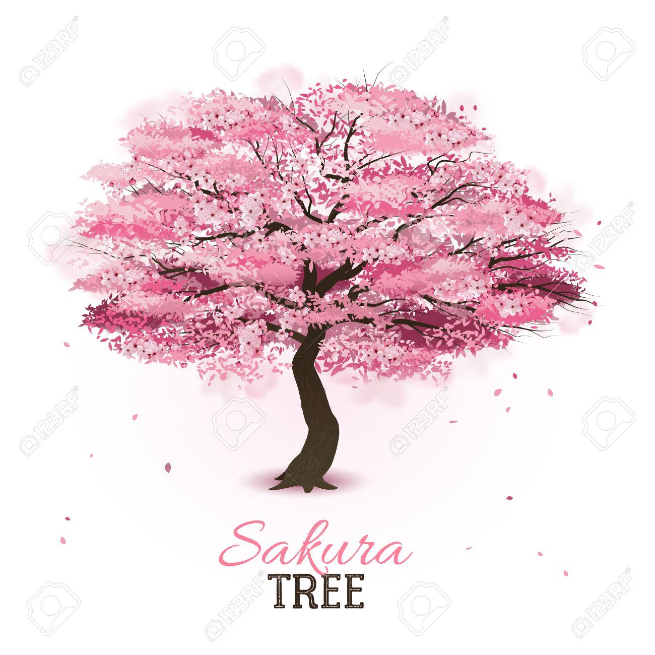 Arbol De Cerezo Japones realista de primavera de flores de color rosa cereza japonés sakura árbol  de ilustración vectorial