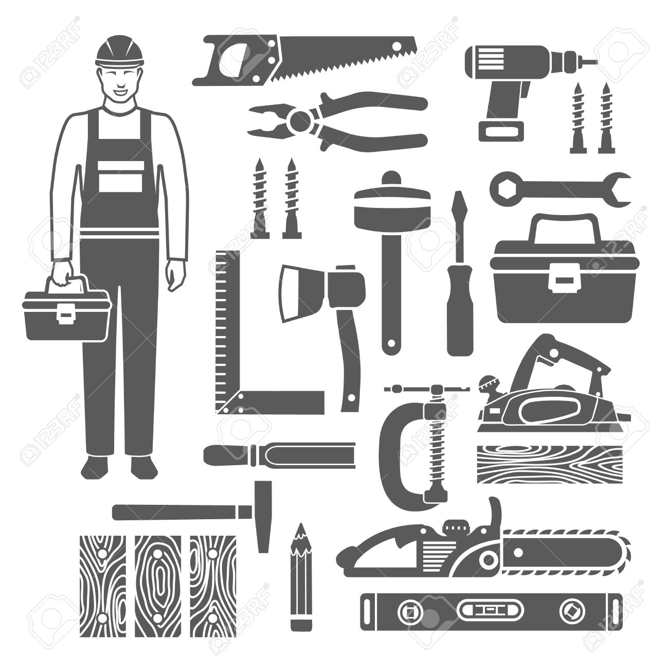 Black Silhouettes Icons Set Of Sawing And Carpentry Tools And
