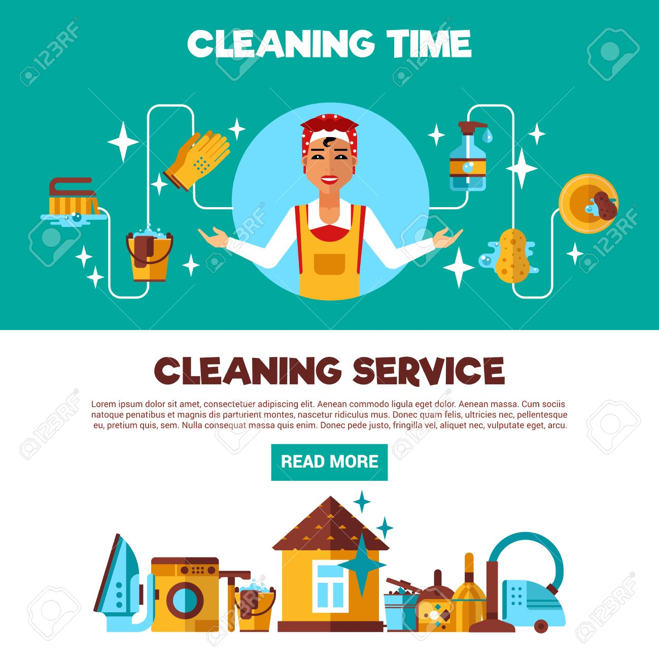 housekeeping full service cleaning and ironing 2 flat housekeeping full service cleaning and ironing 2 flat informative banners advertisement webpage abstract isolated vector
