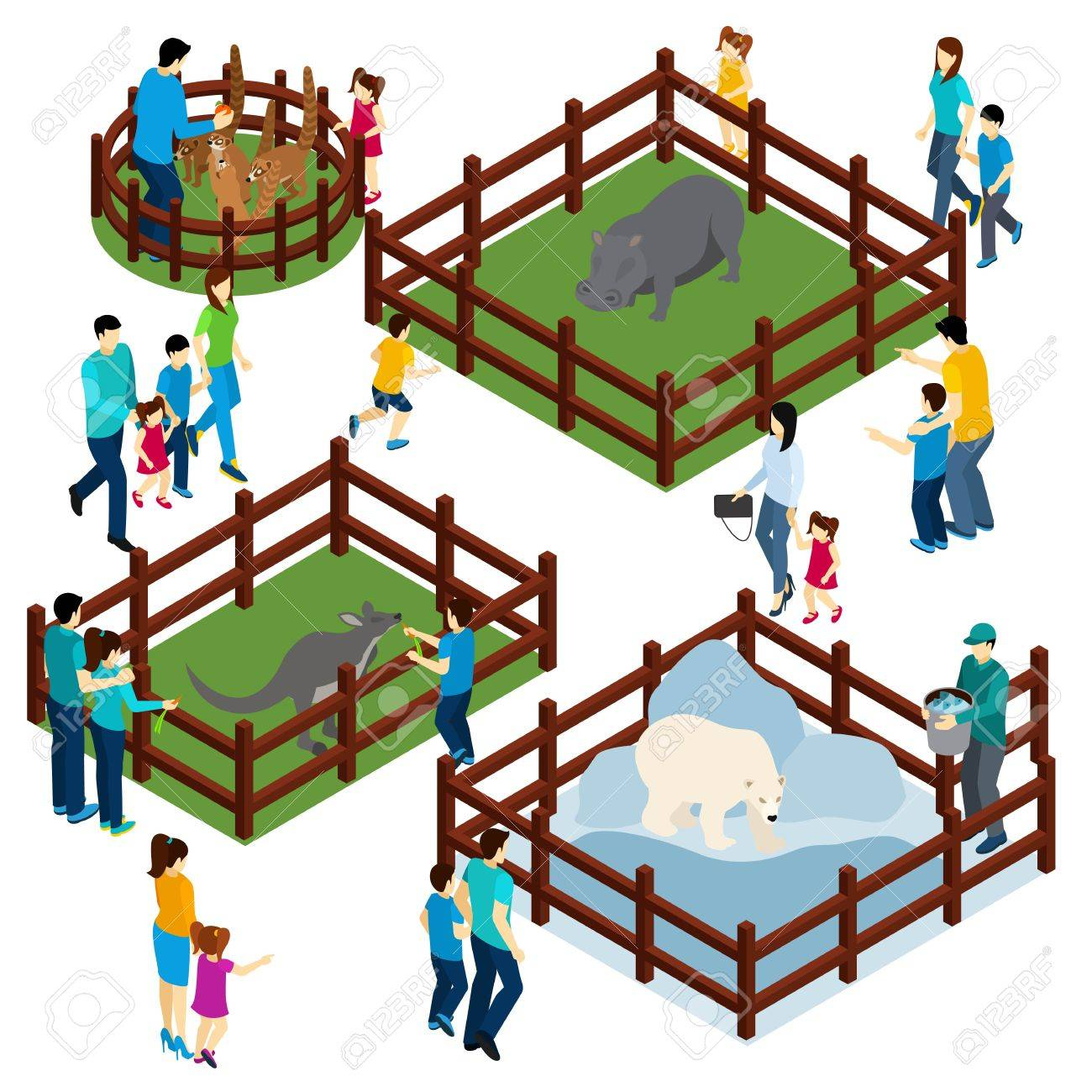 Outdoor zoo park with wild animals in open enclosures and visitors isometric composition banner abstract vector illustration - 50341457