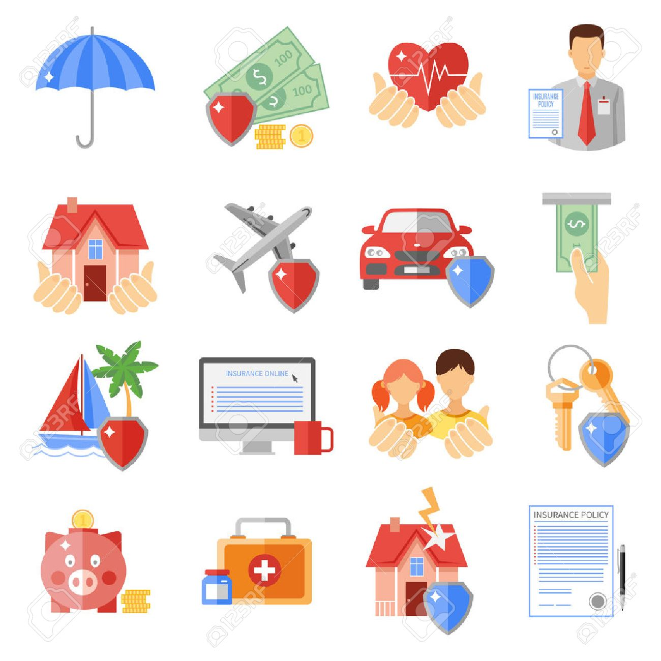 Insurance icons set with house transport and life safety symbols insurance icons set with house transport and life safety symbols flat isolated vector illustration stock vector buycottarizona
