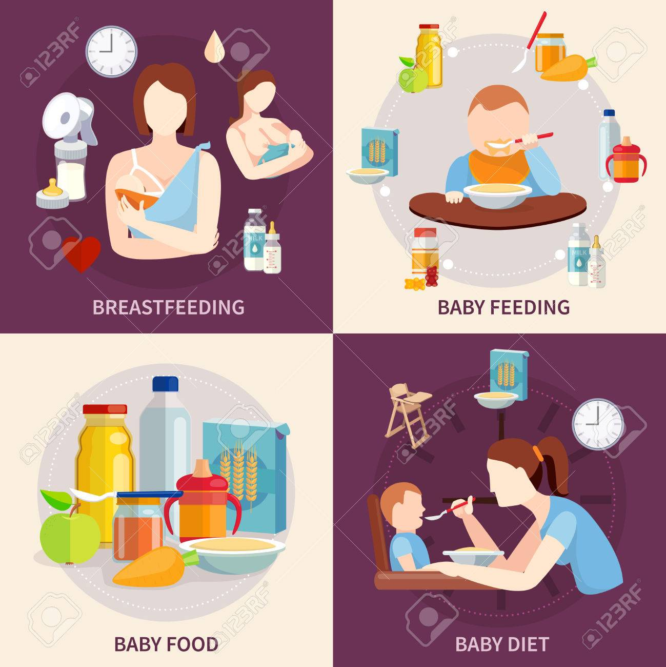 Healthy food choice for babies and toddlers 4 flat icons square composition banner abstract isolated vector illustration - 50703870