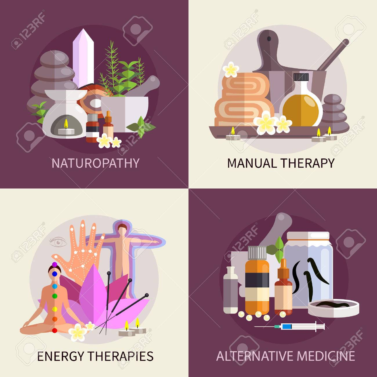 alternative medicine design concept set with elements of naturopathy manual and energy therapies vector illustration - 50703951