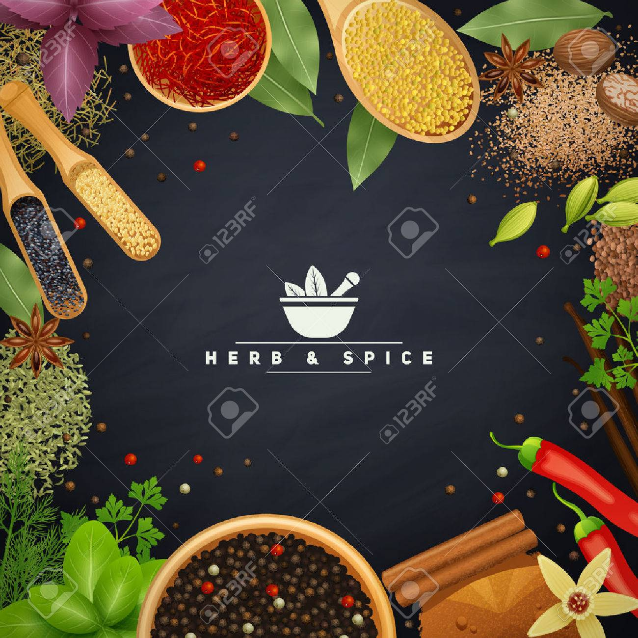 Beautiful frame with edges of cooking herbs and placers spices in wooden dishes and without realistic vector illustration - 50703963