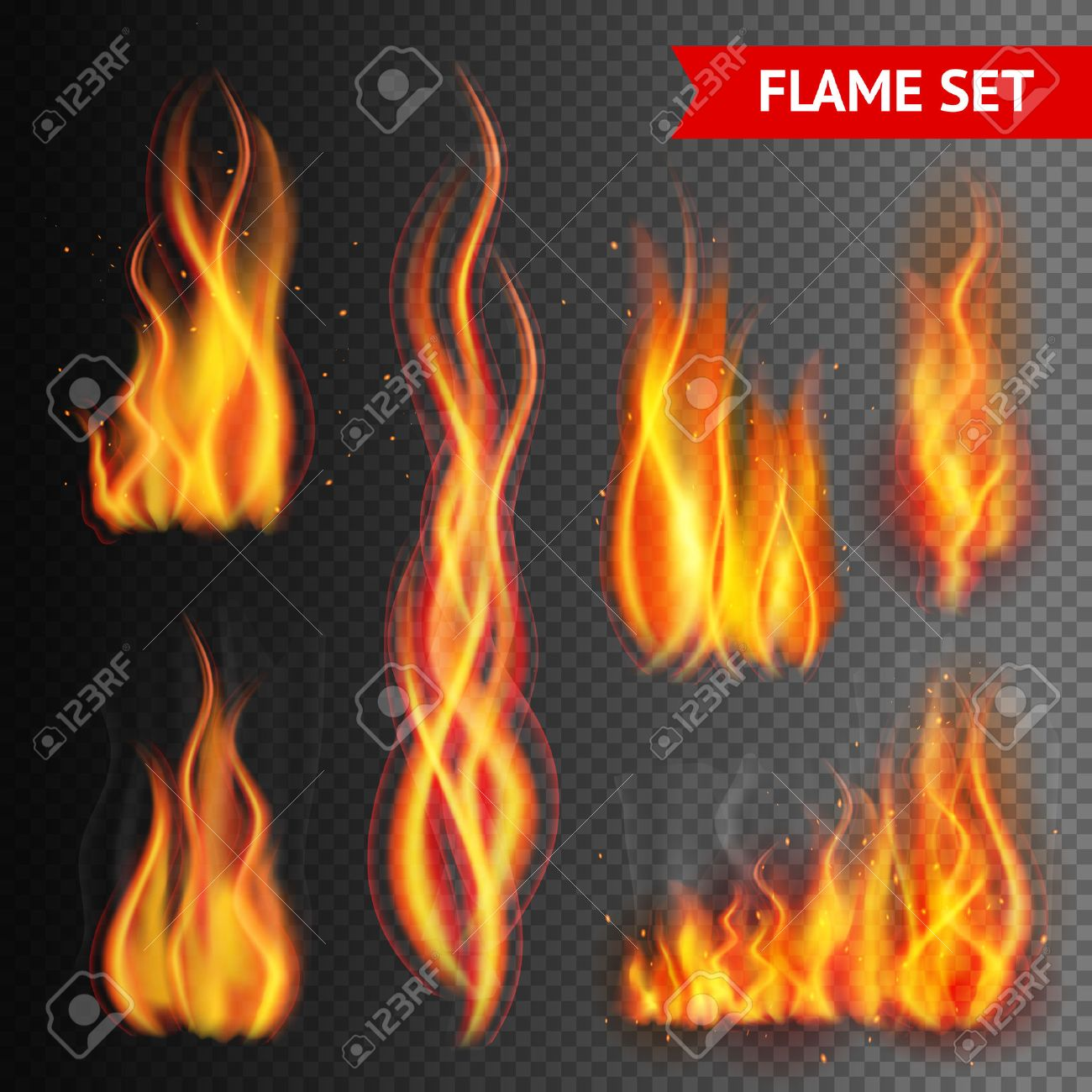 Fire flame strokes realistic isolated on transparent background vector illustration Stock Vector - 50703974