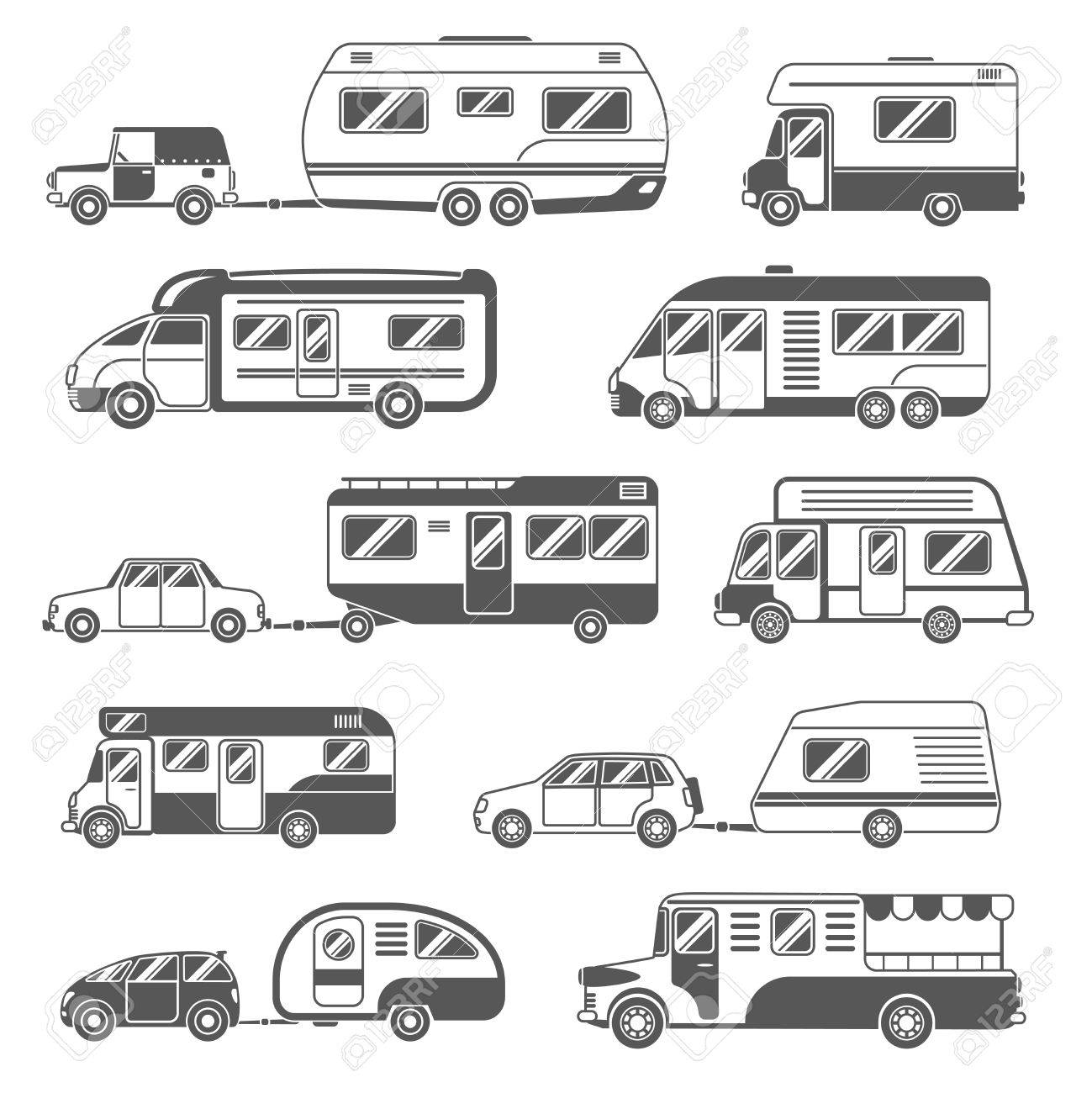 Motorhomes black white icons set with trailers and cars flat isolated vector illustration - 50704018