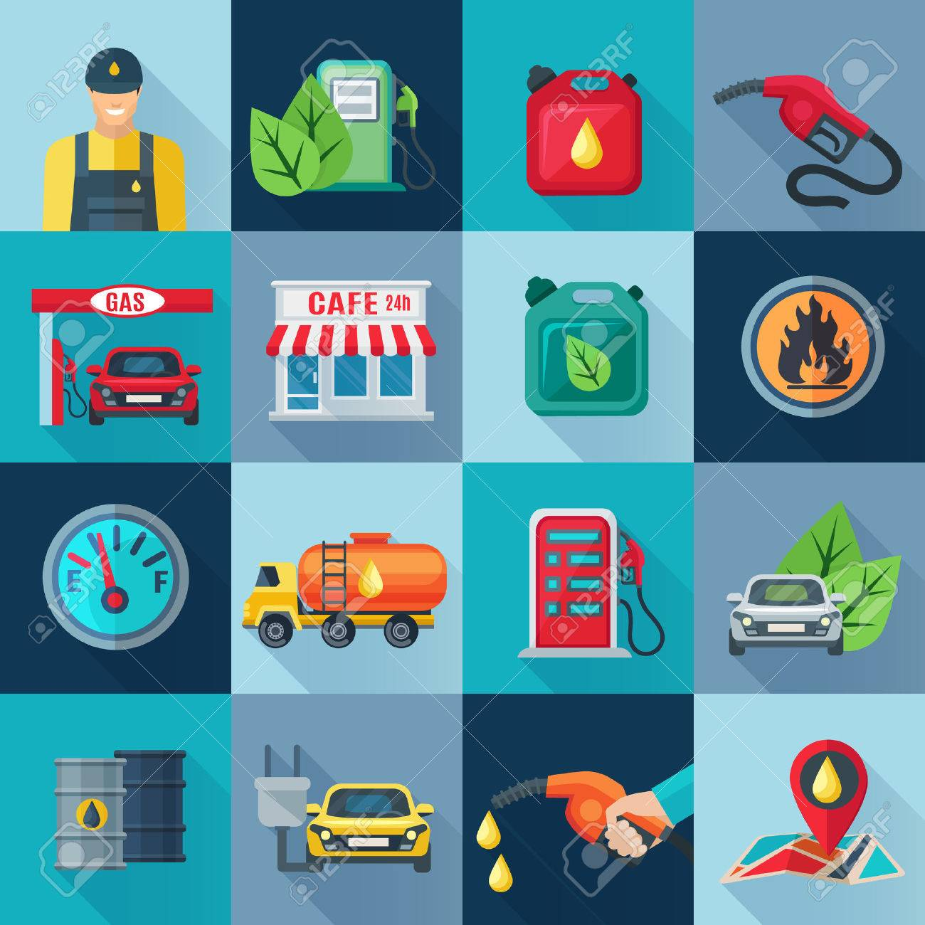 Gas Station Square Icons Set With Fuel And And Oil Industries