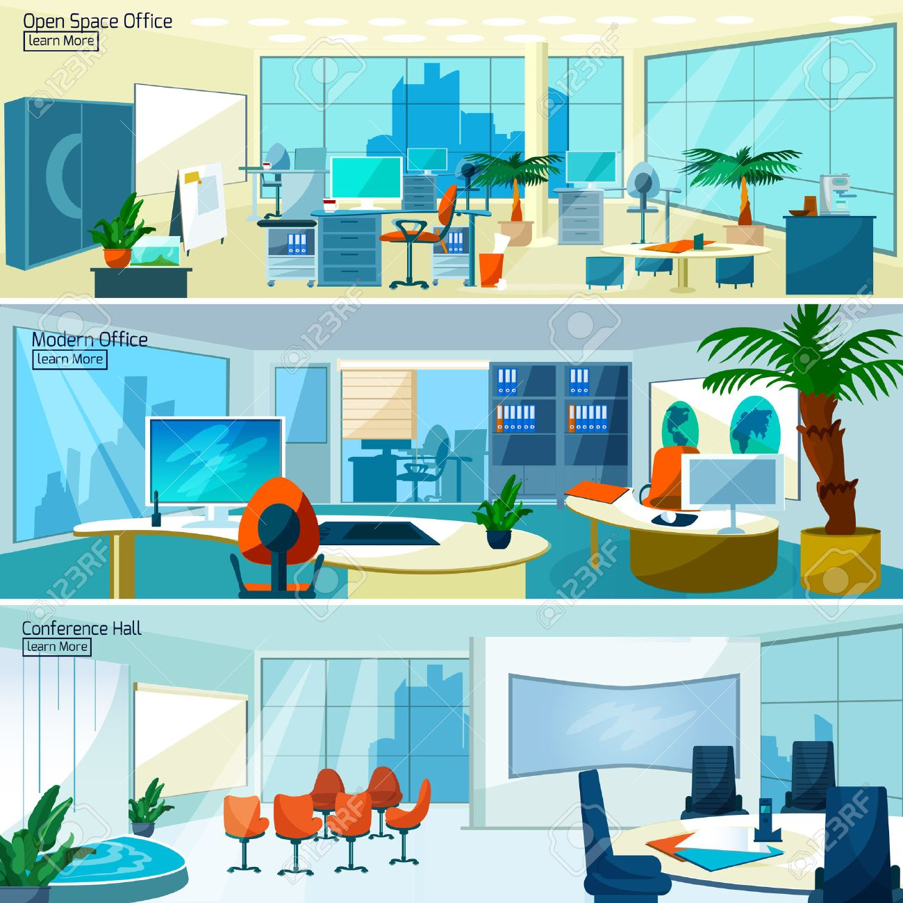 Office interiors horizontal banners set with conference hall and open space office with modern furniture vector illustration - 50704472