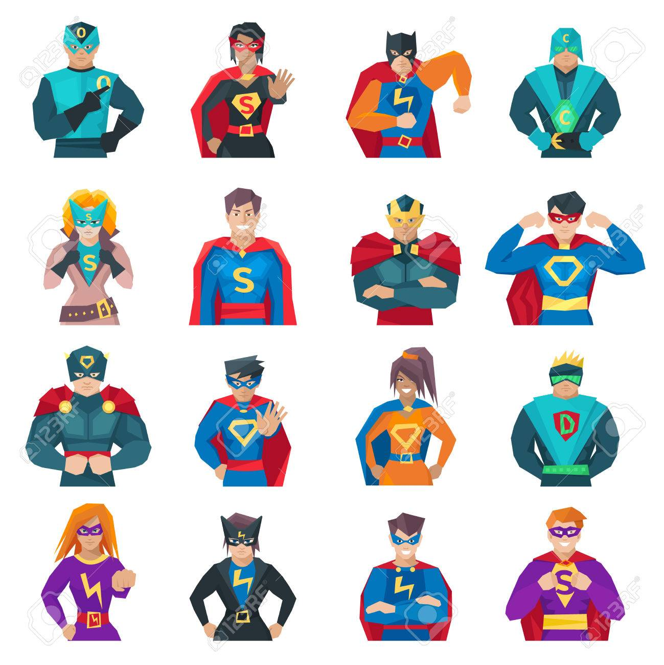 Superhero icons set with strong men and women flat isolated vector illustration Stock Vector - 50704487
