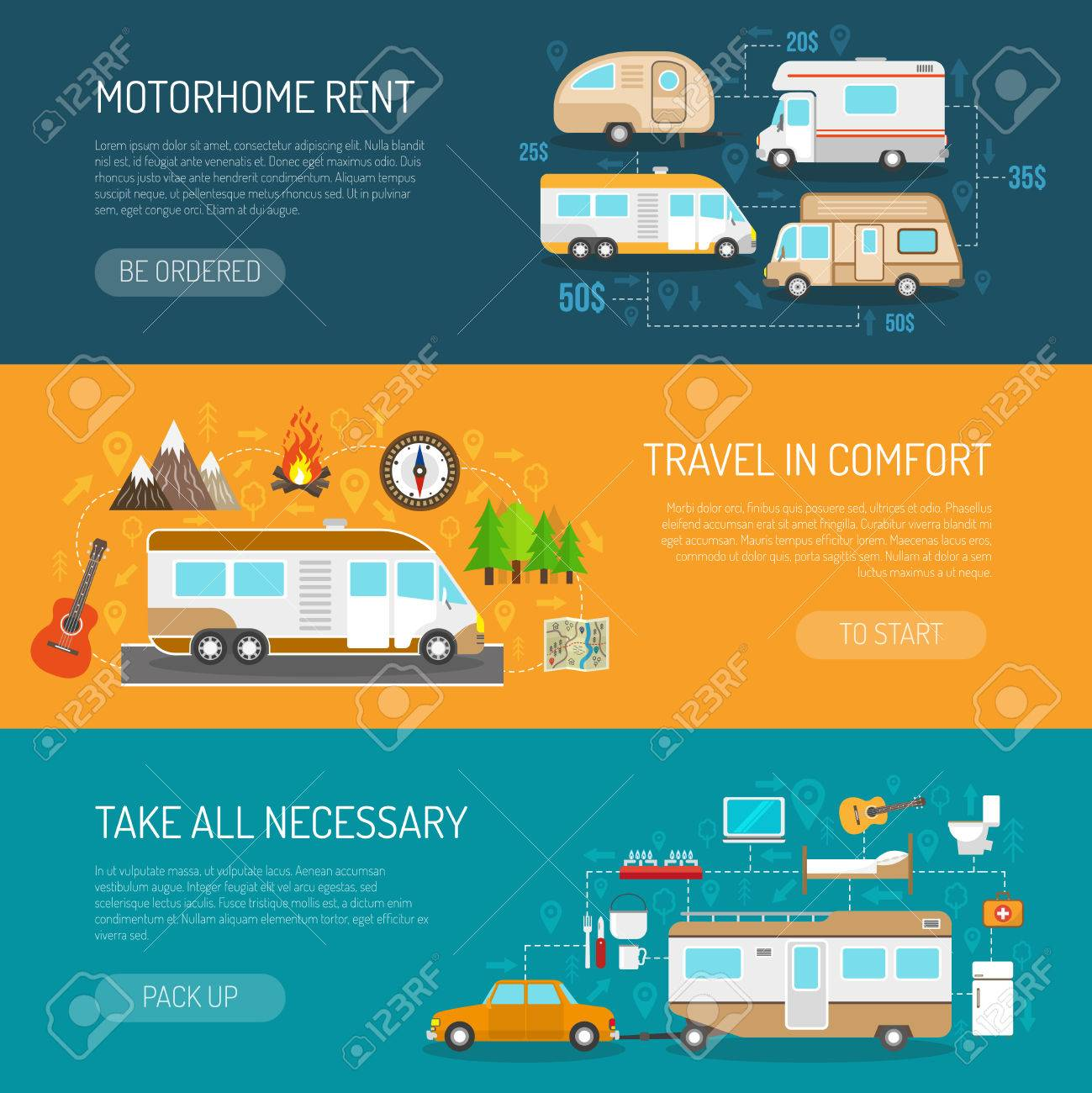 Recreational vehicle horizontal banners set with motorhome rent and travel in comfort symbols flat isolated vector illustration - 50704496