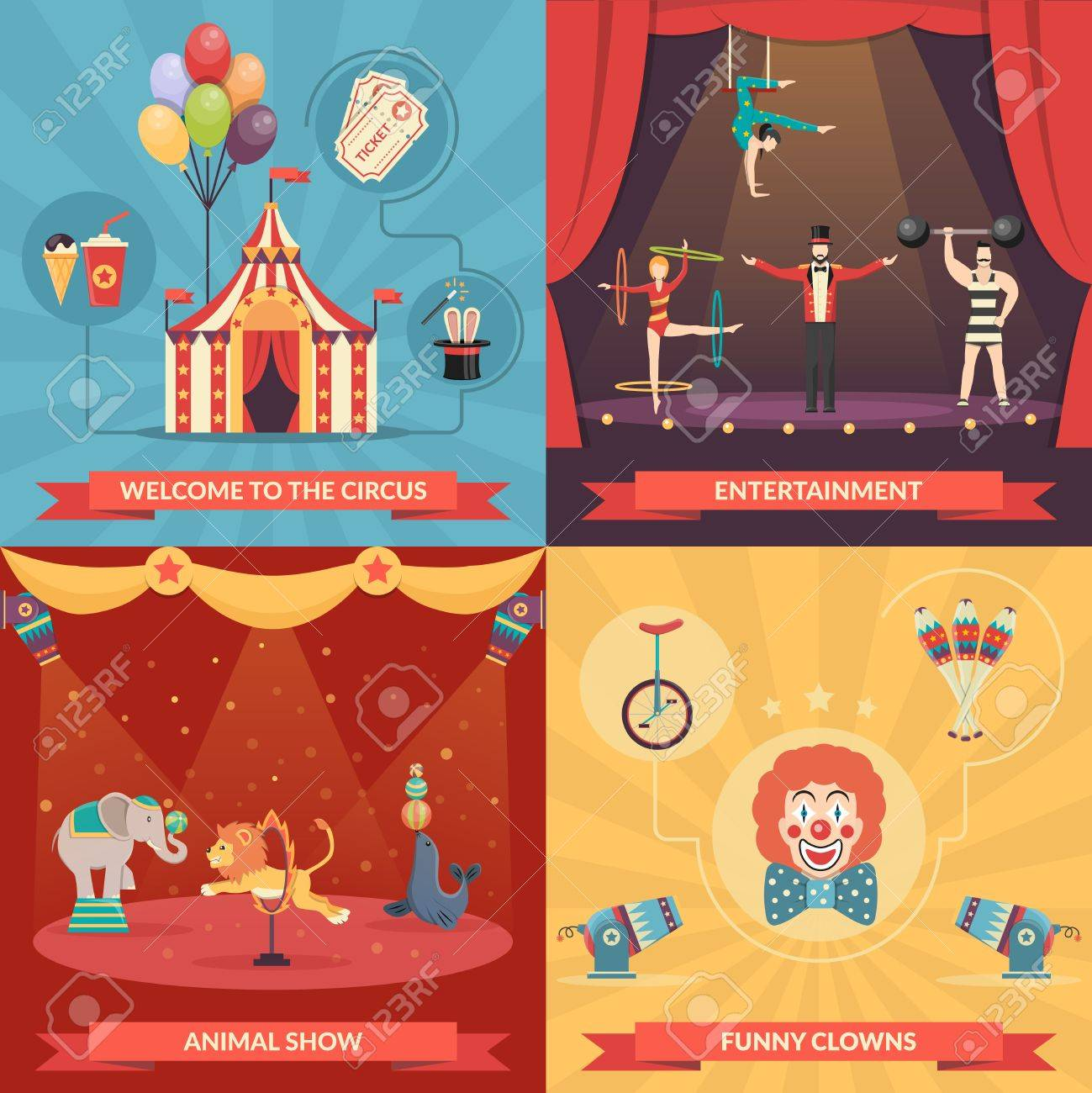 Circus show 2x2 design concept set of funny clowns entertainment and performance with trained animals strongman and acrobats flat vector illustration - 51138288