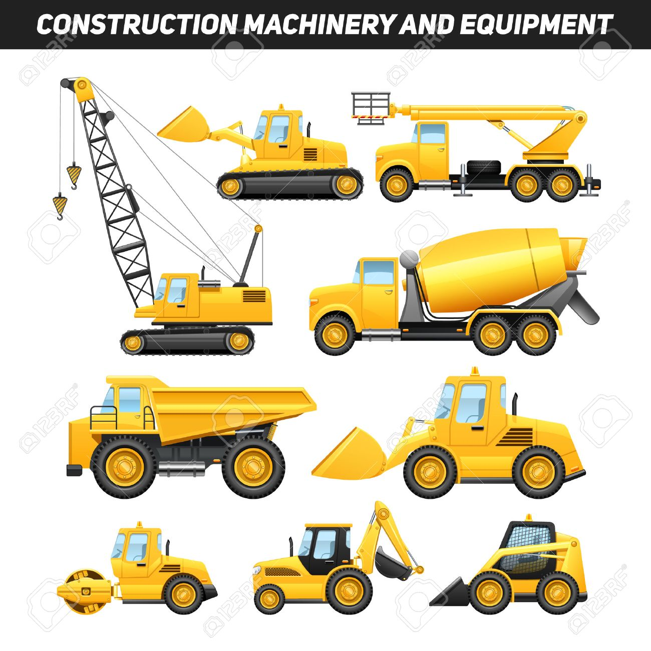 Construction equipment and machinery with trucks crane and bulldozer flat icons set bright yellow abstract isolated vector illustration - 51138641