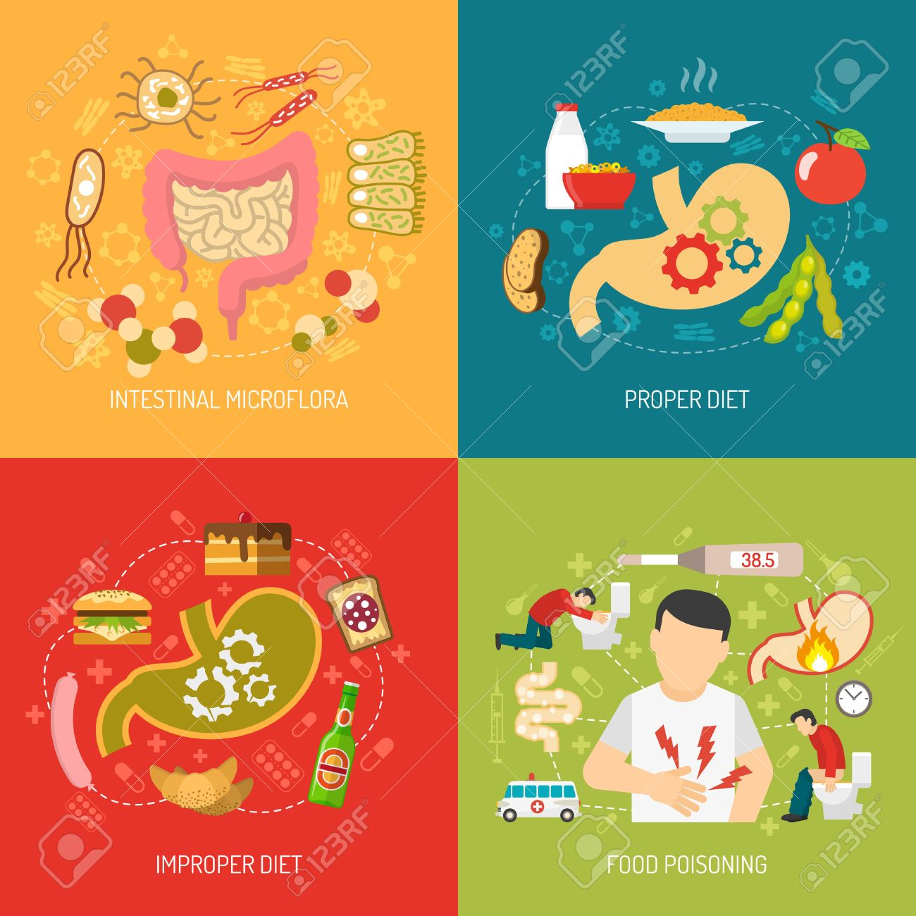 Digestion concept icons set with intestinal microflora and proper diet symbols flat isolated vector illustration Stock Vector - 51138642