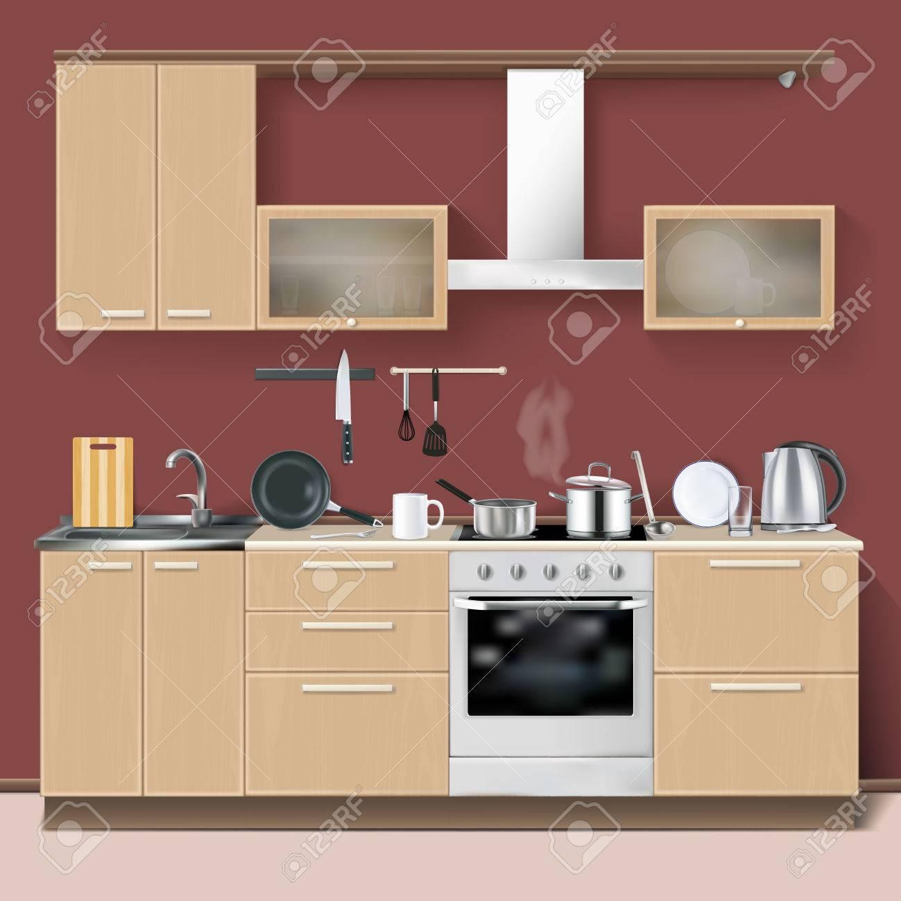 Cocina Realista Entre El Concepto De Diseño Moderno, Con Horno De ...