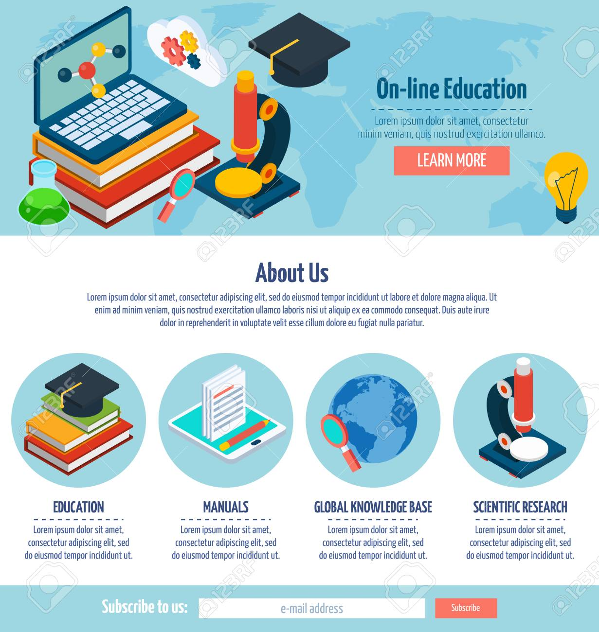 One Page Online Education Web Design Template With E-learning ...