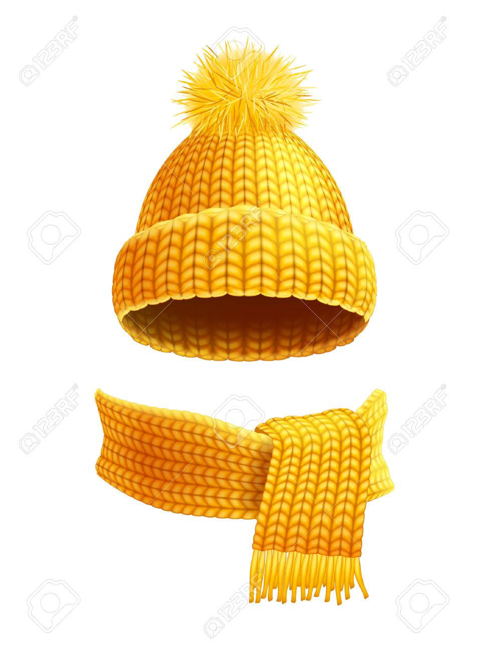Modern winter knitted beanie hat with pompon and scarf set in yellow golden realistic pictogram vector illustration - 51141607