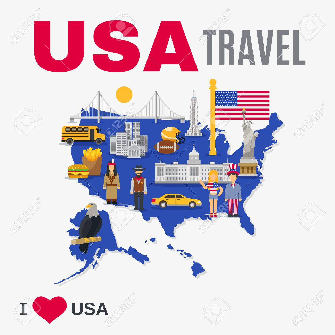 World Travel Agency USA Top Tourists Attraction Poster With - Usa map landmarks