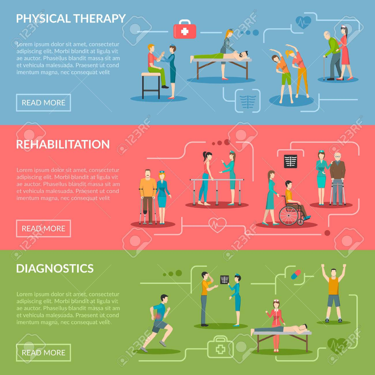 Physiotherapy horizontal banners set of diagnostics and rehabilitation center with medical staff patient and equipment flat vector illustration - 51141629