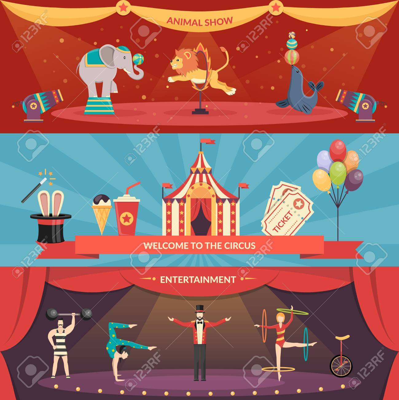 Welcome to circus entertainment flat horizontal banners set of animals show and performance with acrobats and magician vector illustration - 51142583