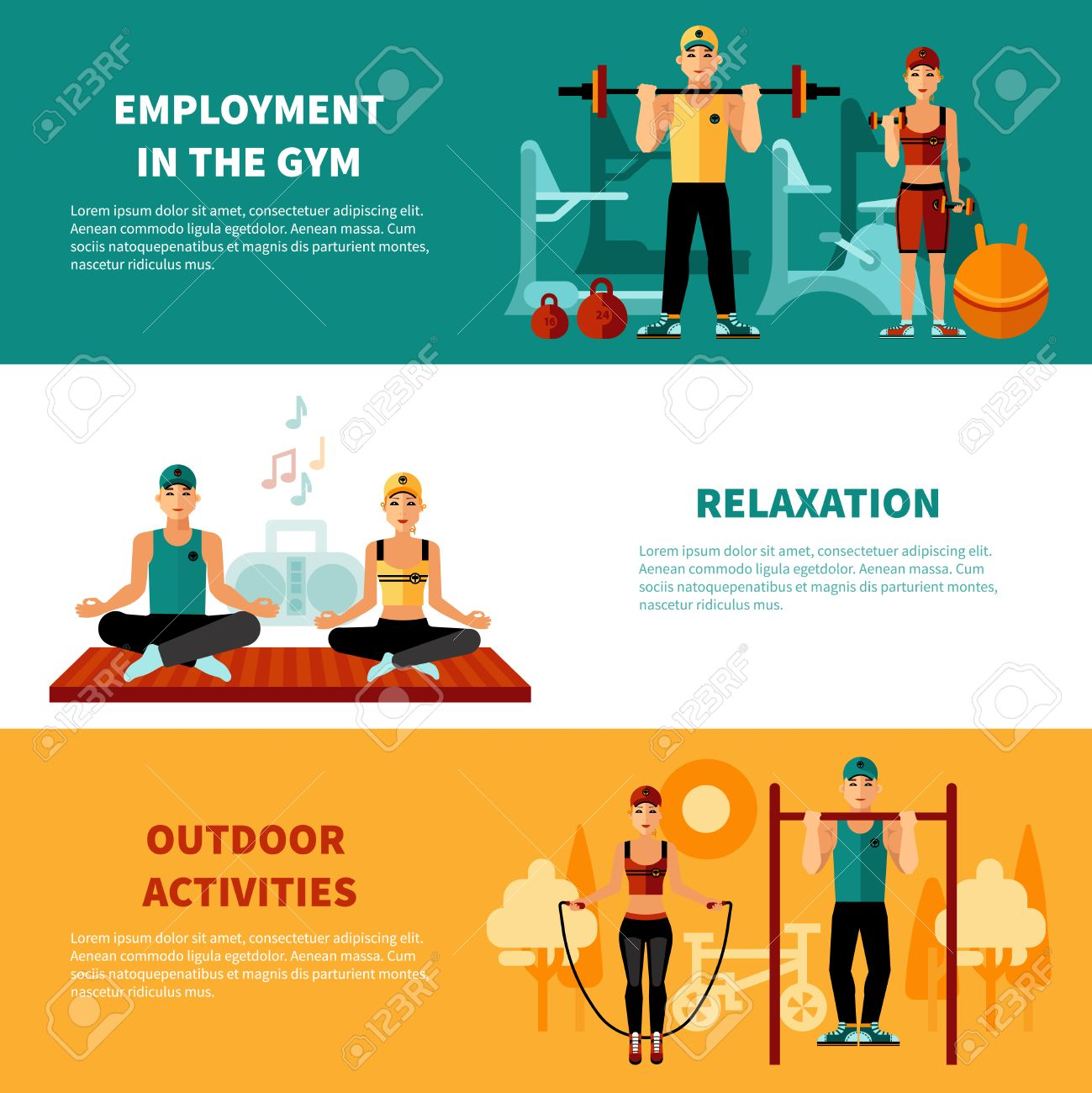 Fitness flat horizontal banners set with gym training relaxation exercises and outdoors activity compositions vector illustration - 51142730