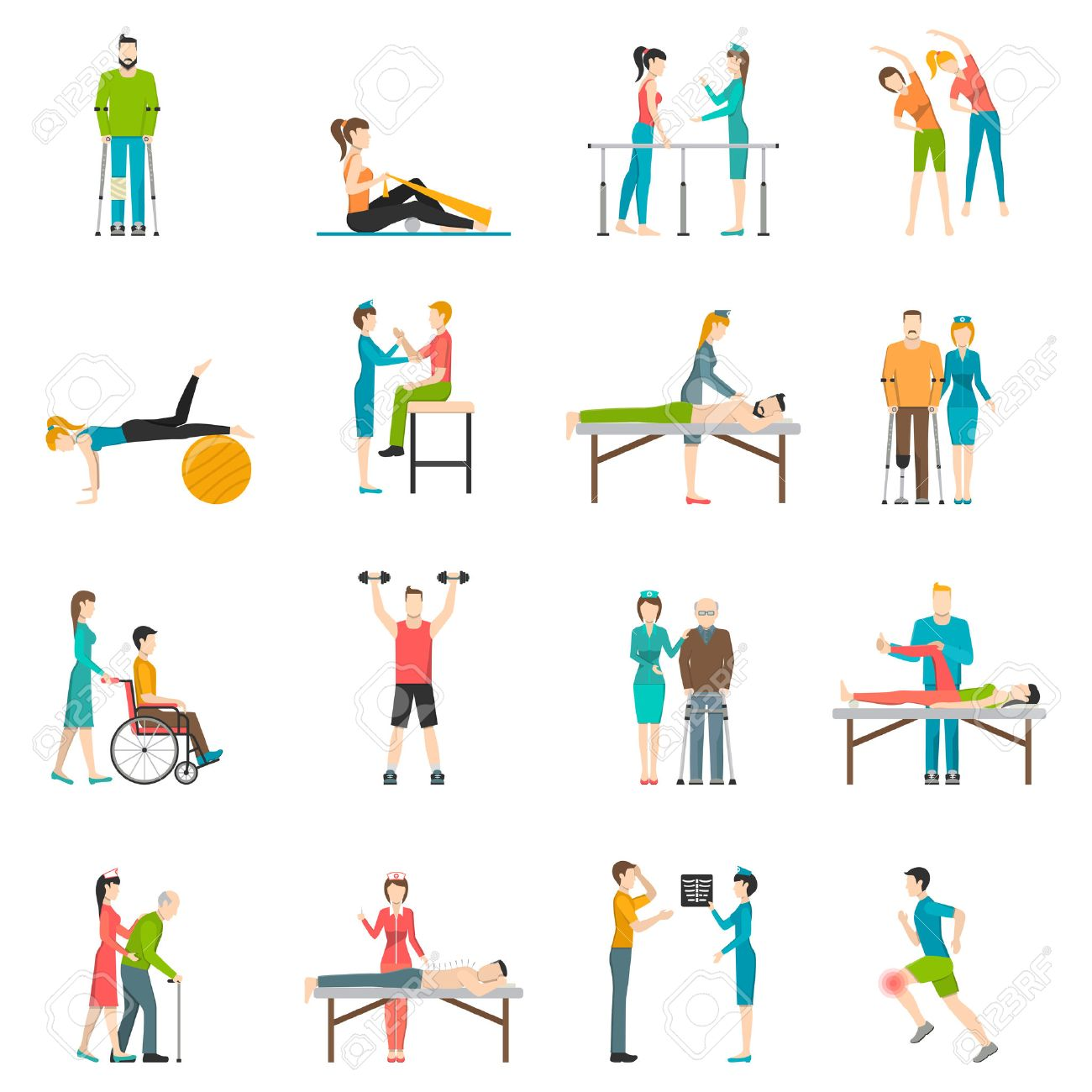 Physiotherapy rehabilitation flat color icons with doctor nurse and patients involved in physical exercises massage and chiropractic isolated vector illustration - 51142960