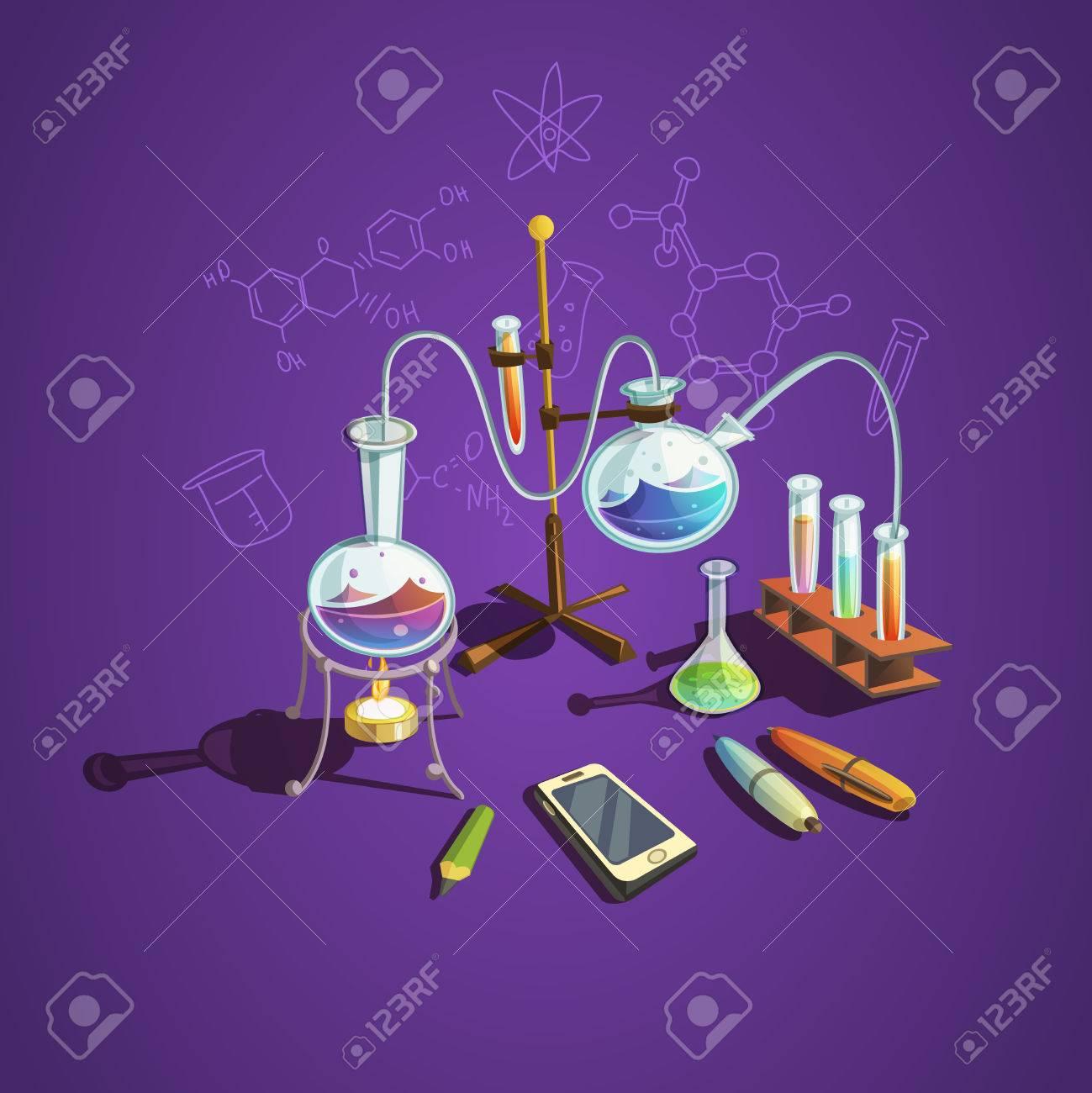 Chemistry science concept with retro cartoon scientific lab items vector illustration - 51142989