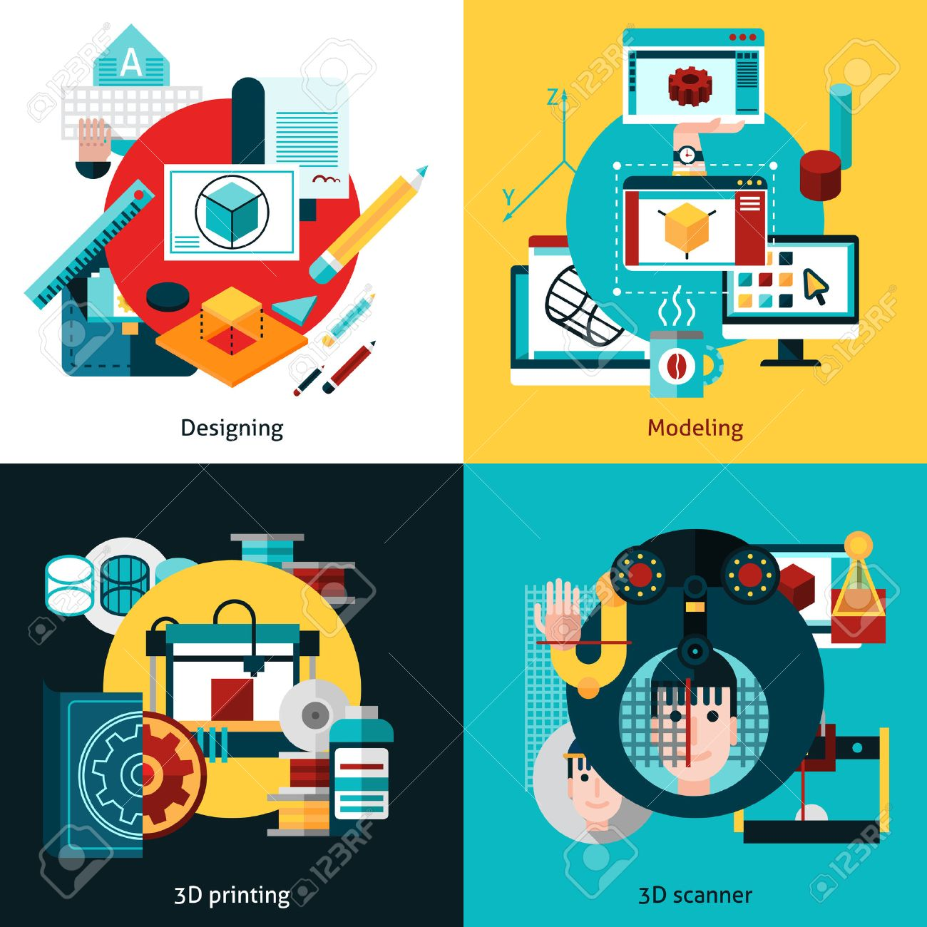 3d technology 2x2 flat concept set of designing modeling 3d printing and 3d scanning vector illustration Stock Vector - 51143111