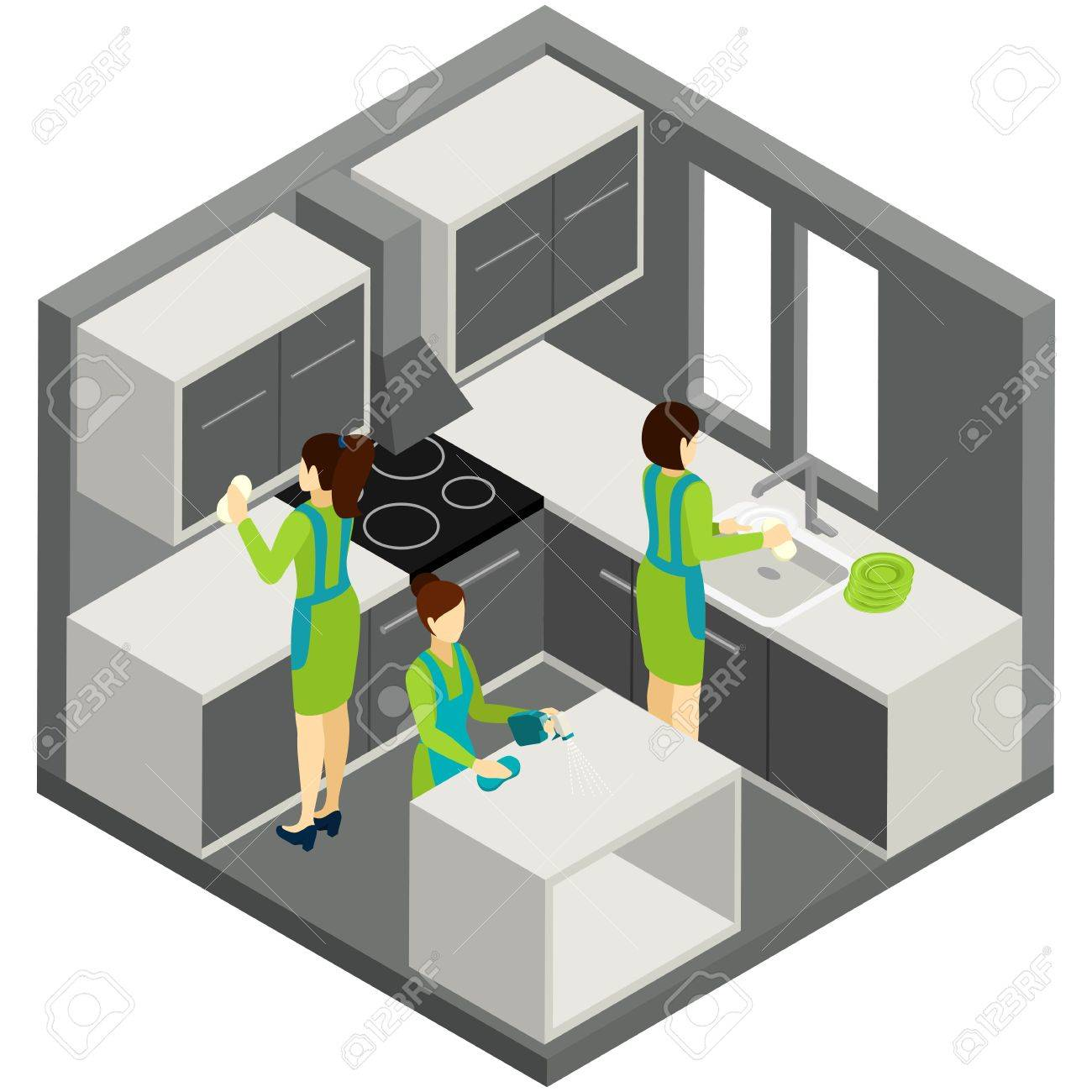 Professional Residential Maids In Green Uniforms Providing Quality Kitchen  Cleaning Services Abstract Isometric Pictogram Banner Vector