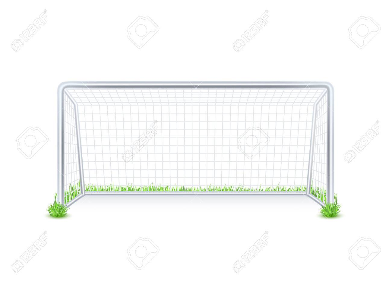 Outdoor soccer football game goal metal gate with white net on grass background print abstract vector illustration - 51154673